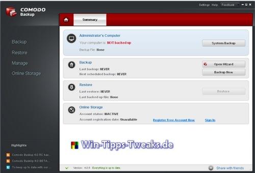Comodo Backup professionelle Datensicherung für zu Hause