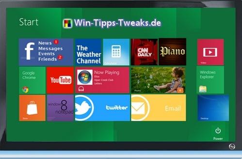 Windows 8 Simulator Startbildschirm