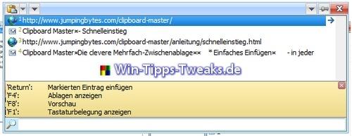 Komplett Anzeige von Clipboard Master