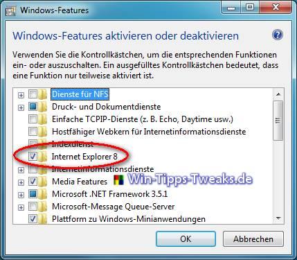Internet Explorer 8 deaktivieren