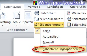 word silbentrennung manuell
