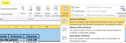 Excel oberste zeilen fixieren